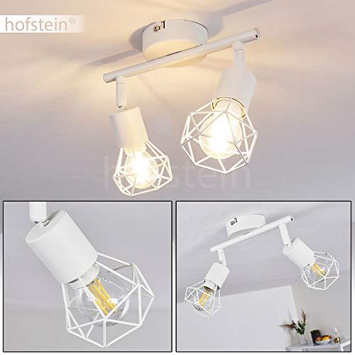 Deckenleuchte Baripada, Deckenlampe aus Metall in Weiß, 2-flammig, 2 x E14-Fassung max. 40 Watt, verstellbarer Spot im Retro/Vintage Design in Gitter-Optik m. Lichteffekt an der Decke, LED geeignet