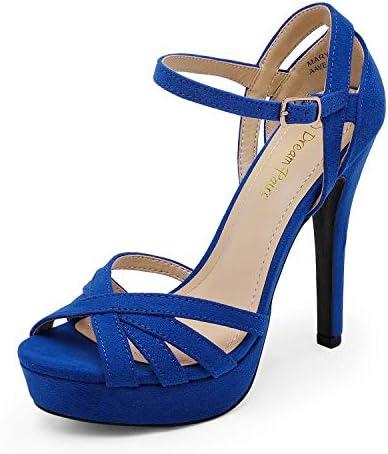 Royal blue wedges heels _image4