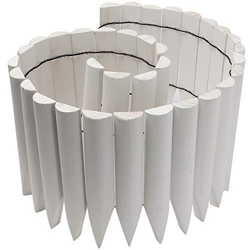 JonesHouseDeco - Bordo decorativo flessibile per esterni, giardino, prato, paesaggio, lunghezza 120 cm x altezza 20 cm, bianco