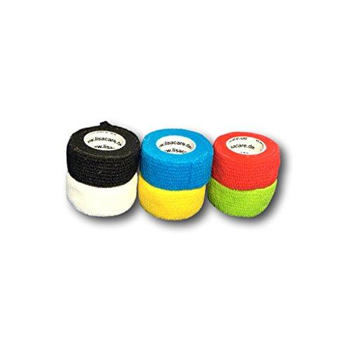 LisaCare® Pflasterverband, Fingerpflaster selbsthaftend - ohne Kleber & elastisch- Wundverband, Fixierverband, Pflaster - 2,5cm x 4,5m - 6 Stück