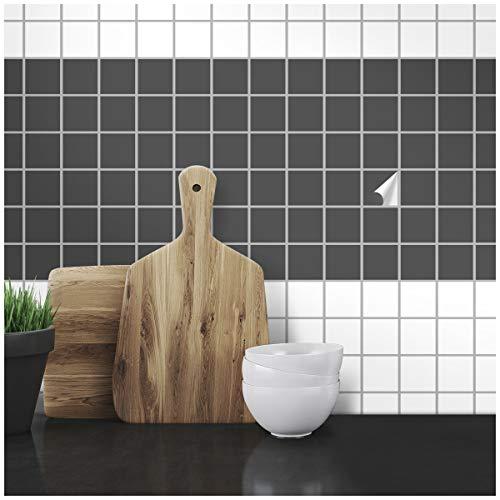 Wandkings Fliesenaufkleber - Wähle eine Farbe & Größe - Dunkelgrau Seidenmatt - 2,2 x 2,2 cm - 100 Stück für Fliesen in Küche, Bad & mehr