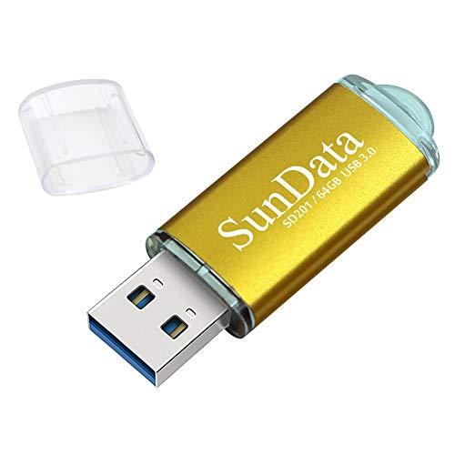 SunData Pendrive 64GB Chiavetta USB 3.0 archiviazione dati pen drive Fino a 90 MB/s, (Confezione Singola: Oro)