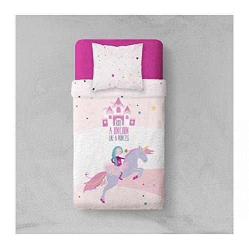 TODAY Parure de Lit Dessin Like a Princess, Polyester, Blanc/Violet, 200x140 cm