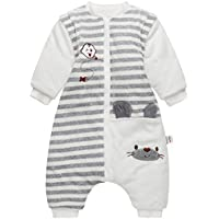Bebé Saco de Dormir con Piernas Separable Algodón 3.5 Tog Invierno Bolsa de Dormir Mangas Larga Extraíbles para Niños Niñas 9-24 Meses
