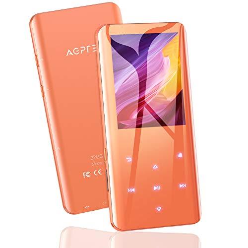 AGPTEK 32 Go Haut-Parleur MP3 Bluetooth 5.0, Baladeur avec Boutons Tactiles Volumes, 2.4 Pouces Lecteur de Musical HiFi en Métal avec Podomètre Radio FM Enregistrement,Supporte Jusqu à 128 Go, Orange