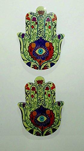 2 Unidades Mano de Fátima Finas imanes para neveras, metálico, diseño Tradicional con Dibujo Ojo Turco (8 cm X 6 cm