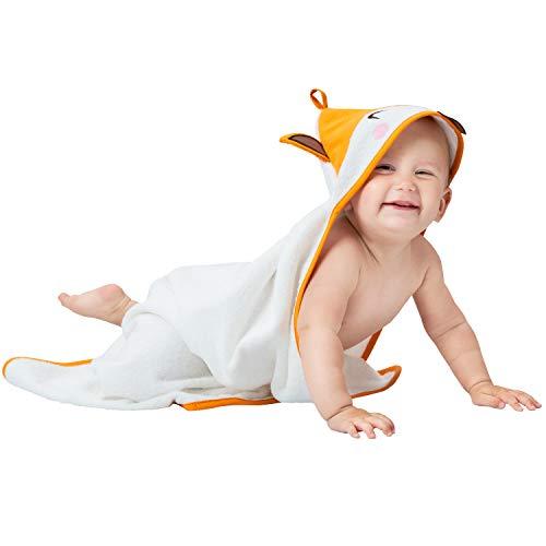 Babybadetuch Mädchen und Junge - Fuchskopf Kapuze - Baby Handtuch Frottee aus 100% Bio Baumwolle, OEKO TEX Zertifizierung, Ohne Chemikalien - Kapuzenhandtuch 70x70 cm, 0-12 Monate - Orange