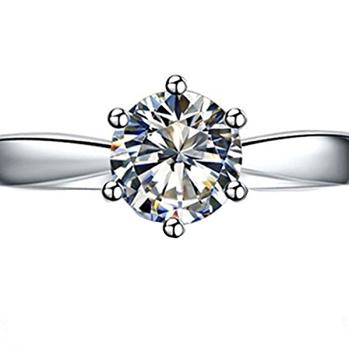 Sterling Silver 2CT NSCD Simulated Diamond Anniversary Ring Solitaire Prongs Jewelry Engagement...