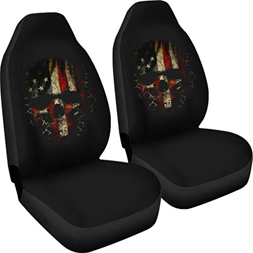 CHICKYSHIRT Skull American Flag Car Seat Covers Set of 2, Vehicle Seat Protector Car Mat Covers - Fundas de Asiento de Coche, Fit Most Vehicle, Cars, Sedan, Truck, SUV, Van
