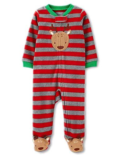 Baby Boys Reindeer Fleece Sleep and Play! Striped Boys Footed Pajamas! - Multi - 3 Months