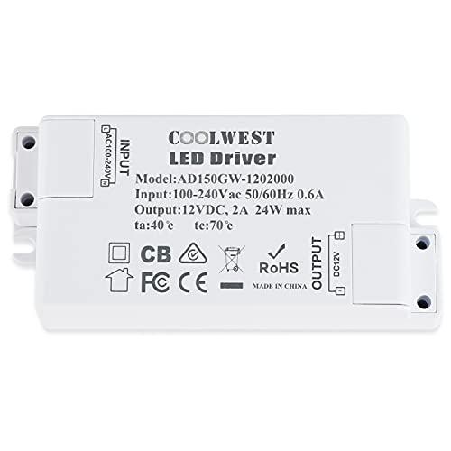 COOLWEST LED Trafo 12V DC 24W Transformator für G4, GU10, MR11, MR16 LED Lampen, Lichtstreifen
