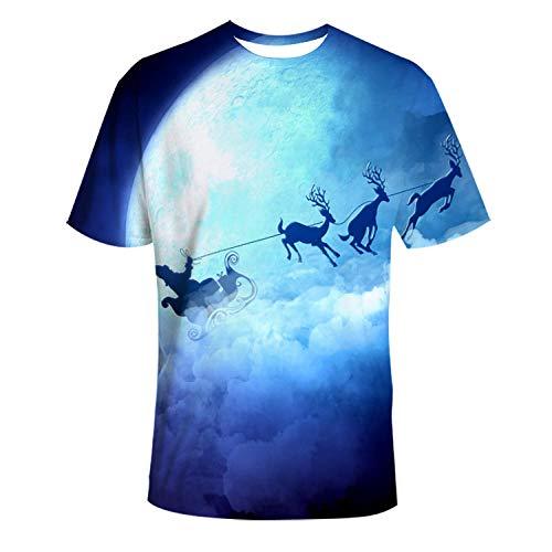 YYQX Conainer heren 3D Graphic Print T-shirt Moonlight Elk slee T-shirt heren 3DT hemd korte mouwen ronde hals digitale print casual korte mouwen