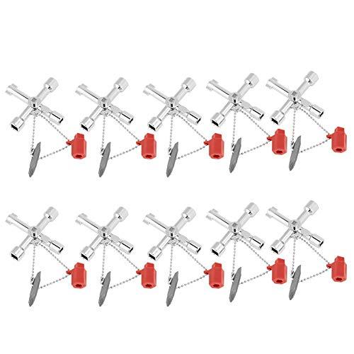 Jadpes Llave de llave cruzada, 10pcs Gabinete de control universal multifunción Llaves de interruptor de llave transversal Herramientas de mano