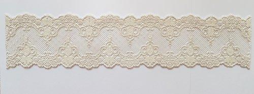 Cenefa decorativa de encaje para tartas comestibles estilo real para tartas de boda 38 cm x 8.5 cm blanco