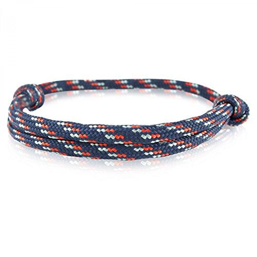 Skipper Surfer-Armband mit Segelknoten für Damen und Herren - Marine/Rot/Grau 6919