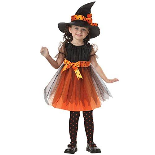 K-youth Disfraz Bruja de Halloween para Niñas Cosplay Niña Halloween Vestidos y Sombrero Bruja (Tamaño:2-3años, Amarillo)