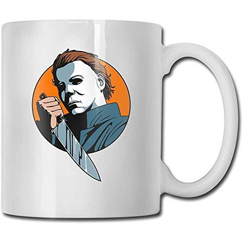 Mokken Halloween Michael Myers masker handgemaakt design grappige koffiemok thee mok geschenk voor fans man vrouw vriendin wit
