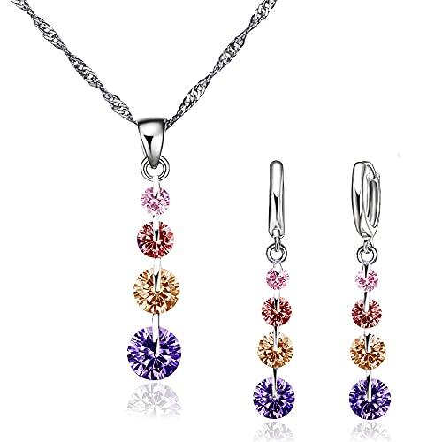 Conjunto de Joyas de plata 925 para Mujer, Juego de Collar y Pendientes con Circonitas, Regalo para Mujer (Colores)