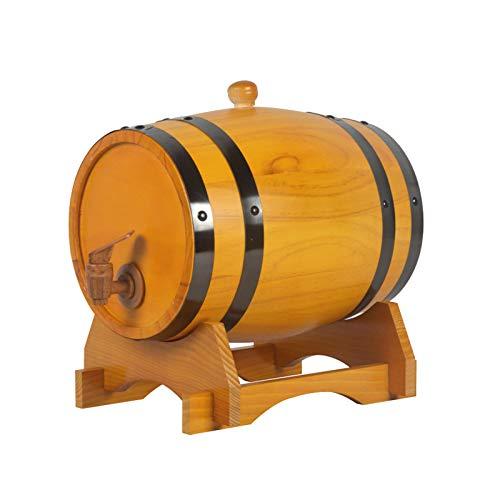 3L / 5L / 10L / 20L / 30L Barril De Roble,Barril De Madera Real Que Contiene Revestimiento De Papel De Aluminio For Almacenar O Elaborar Bebidas Espirituosas De Vino Y Whisky(Botellero Gratis(Size:5L)
