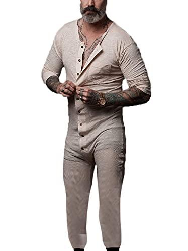 Conjunto de ropa de dormir para hombre Dungarees Long Overoles Ropa de dormir Mono con botón (#3, XXL)