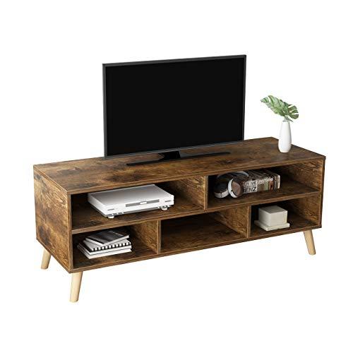 DlandHome Mueble de TV con Almacenamiento Banco de TV para Sala de Estar 116.5cm x 40cm x 42CM Gabinete de Unidad de TV/Consola de TV/Gabinete de Dormitorio,Colore Retrò