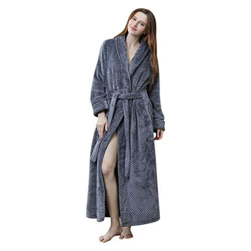 Zarupeng Bademantel mit Schalkragen Unisex Herren Damen Verdicken Lange Pyjamas Fleece Robe Morgenmantel Saunamantel Gown Nachtwäsche