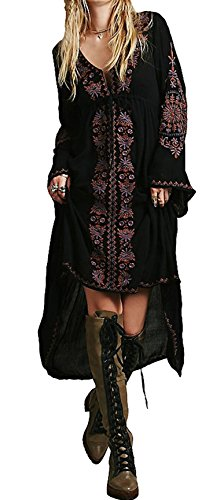 R.Vivimos Womens Cotton Embroidered High Low Long Dresses Small Black