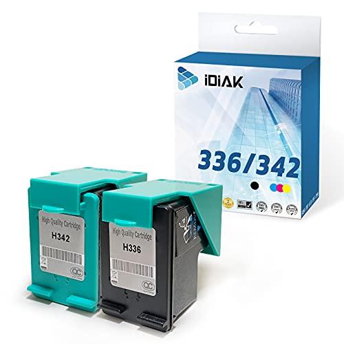IDIAK Cartuchos de Tinta 336 342 remanufacturados compatibles con HP 336 342 con HP Deskjet 5420 Officejet 6310 6318 Photosmart 2570 2575 C3100 C3140 C3150 C3170 C3180 C4100 C4140 PSC Negro+Tricolor