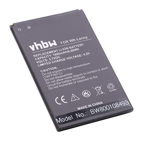vhbw Akku kompatibel mit Wiko B0386126, Lenny, Lenny 2, Lenny 3 Handy Smartphone Handy (1800mAh, 3,7V, Li-Ion)
