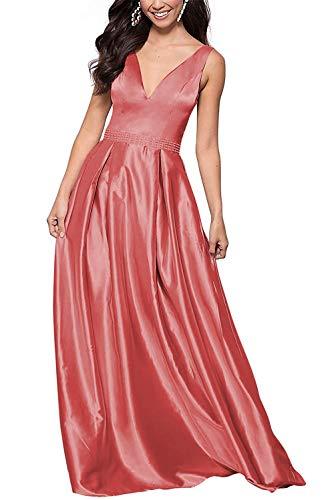 HUINI Abendkleid Lang Damen Hochzeitskleid Prinzessin Standesamt Satin Ballkleid Partykleid A-Linie Ärmellos Koralle 58