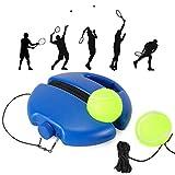 Fostoy Tennis Trainer Set, Tennis Trainer Ausrüstung Base mit Schnur und 2 Rebound Bällen für Solo Praxis, Selbststudium Tennis Werkzeug für Erwachsene Kinder Anfänger,Blau