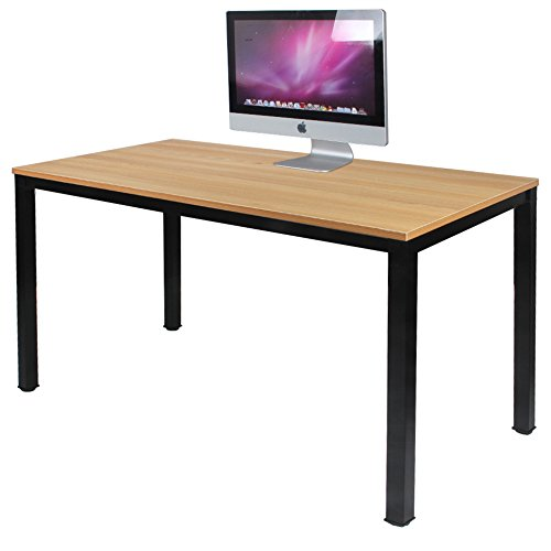 DlandHome Escritorios Mesa de Ordenador 120x60cm Escritorio de Oficina Mesa de Estudio Puesto de Trabajo Mesa de Despacho, Teca & Nero