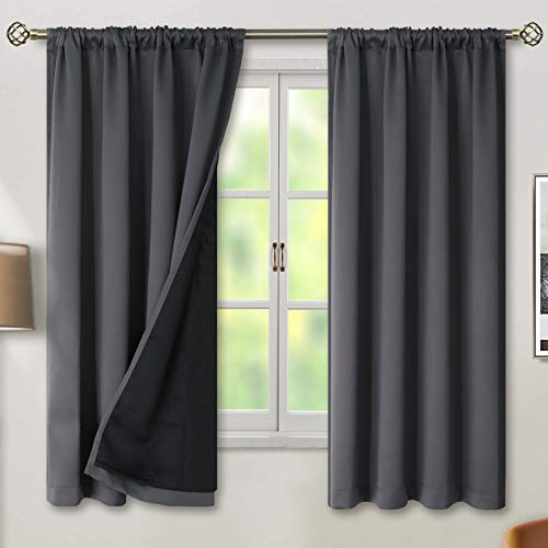 BGment Thermal Insulated 100% Blackout Curtains for Bedroom with Black Liner, Double Layer Full Room Darkening Noise Reducing Rod Pocket Curtain (52 x 63 Inch, Dark Grey, 2 Panels)