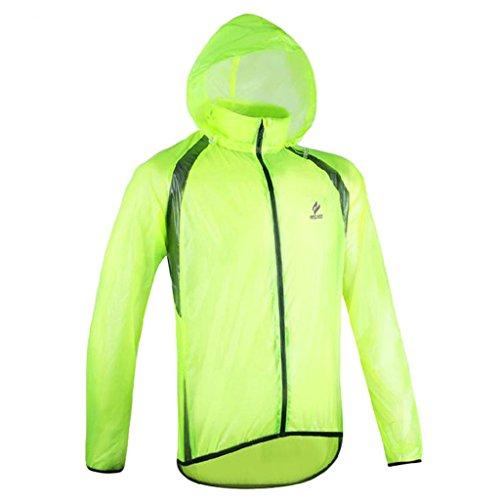 GWELL Leicht Fahrradjacke Regenjacke Wasserdicht Winddicht Atmungsaktiv für Herren grün M