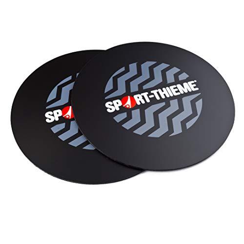 Sport-Thieme Flow Slide Pads | 2X doppelseitige Fitness Gleitscheiben, Core-Sliders, Gliding-Discs für alle Böden | Aus Nylon u. Polyethylen | Ø 25 cm | Schwarz | Markenqualität
