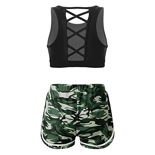 CHICTRY Ropa Deportiva de Yoga Gimnasia para Niña Conjunto Deportivo de Danza Baile Tank Top + Pantalónes Cortos Deporte Fitness Running(6-14años) Verde 15-16 años