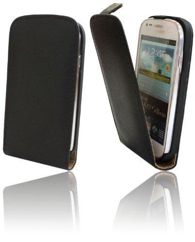 ENERGMiX Handytasche Flip Style für Samsung Galaxy S3 Mini (i8190) in Schwarz Klapptasche Hülle