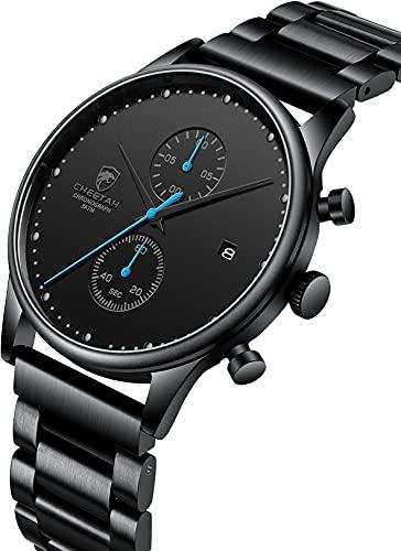 Reloj de hombre de moda deportivo impermeable relojes con cronógrafo metal acero inoxidable reloj de pulsera analógico fecha (negro azul)
