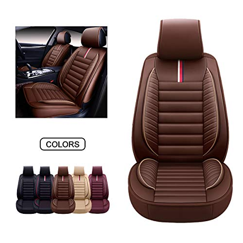OASIS AUTO Leather Car Seat Covers, Faux Leatherette Automotive Vehicle Cushion Cover for Cars SUV Pick-up Truck Universal Fit Set for Auto Interior Accessories (OS-001 Front Pair, Brown)