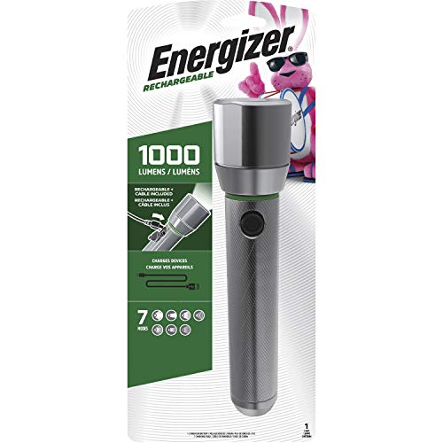 Energizer LED Flashlights, 1000 High Lumens, Water Resistant, Aircraft Grade Metal Tactical Flashlight, USB Rechargeable or AA Battery Option (Batteries Included)