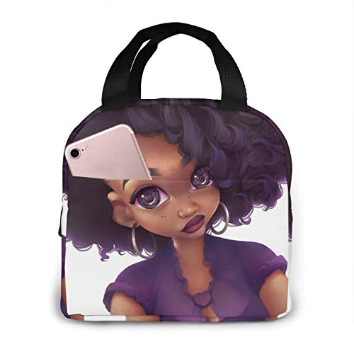 Matthzhang Lunch Bag Black Art African American Women Purple Lips Insulated Lunch Tote Boxes Cooler Bag For Adults Men Women Kids Boys Nurses Teens