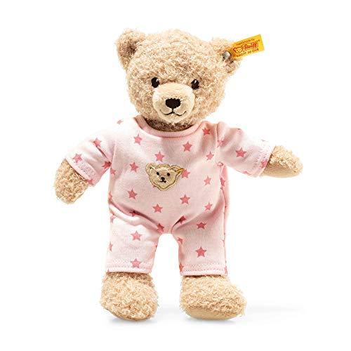 STEIFF Teddy and Me Teddybär Mädchen Baby mit Schlafanzug - 25 cm - Teddybär mit rosa Schlafanzug - Kuscheltier für Babys - weich & waschbar - beige/rosa (241659)