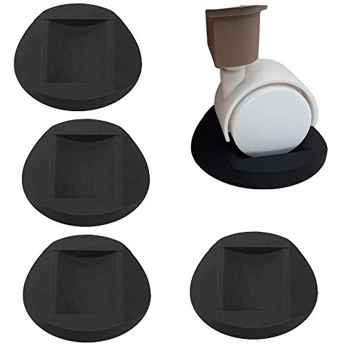 4 Piezas Tazas de Goma para Muebles, Almohadillas para Pie de Piano, Mudo a Menudo Pegamento Antideslizante Posavasos para Muebles para Todos Los Pisos y Ruedas de Muebles, Sofás y Cama (Negro)