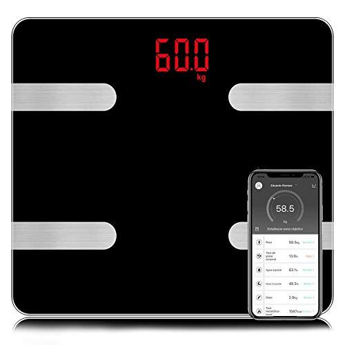 Báscula, Sendowtek Escala de Peso Digital Inteligente Bluetooth 4.0 , Báscula Corporal Grasa y Musculo, App Profecional de Monitores de Grasa y Composición Corporal, 400 libras,14 Indicador de Salud, Compatible con Las Aplicaciones de iOS y Android