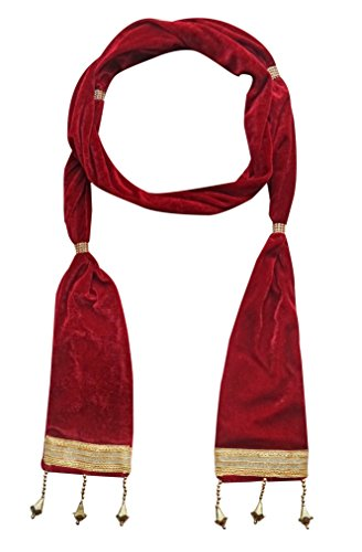 Krypmax Men's Ethnic Velvet Broad Lace Sherwani Dupatta (Maroon, 2.5 Mtr Length)