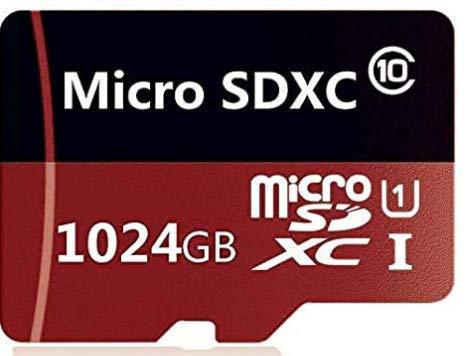 Tarjeta de memoria Micro SD de 512 GB/1024 GB con adaptador MicroSD de alta velocidad clase 10, U1, A1 para teléfono, tableta y PCs (1024 GB-A rojo)