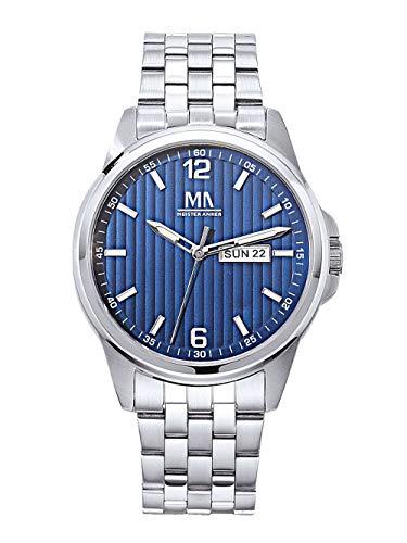 Meister Anker Herren Analog Uhr in Silberfarben mit Armband in Silberfarben aus Edelstahl