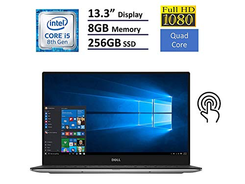 "Dell XPS 13 9360 Laptop - 13.3"" Anti-Glare InfinityEdge Touchscreen FHD (1920x1080), Intel Quad-Core i5-8250U, 256GB NVME PCIe M.2 SSD, 8GB RAM, Backlit Keyboard, Windows 10 (Rose Gold)"