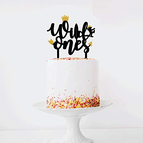 Wild Ones Twin Birthday Decorations I Wild Ones Cake Topper for Twins Party I Black and Gold Glitter Acrylic Monogram Birthday Cake Toppers I Where the Wild Things are Cupcake Toppers I Baby Shower Supplies its twins cake topper