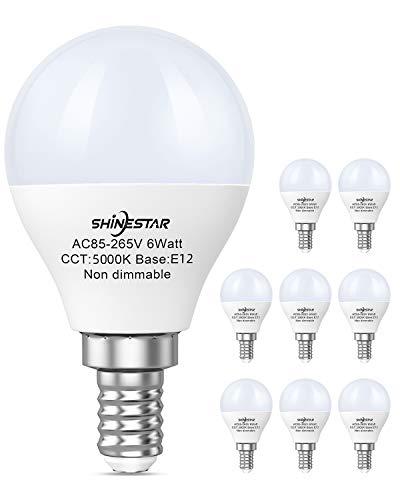 SHINESTAR 8-Pack Bright LED Ceiling Fan Light Bulbs, 60 watt Equivalent, Daylight 5000K, E12 Small Base, Non-dimmable